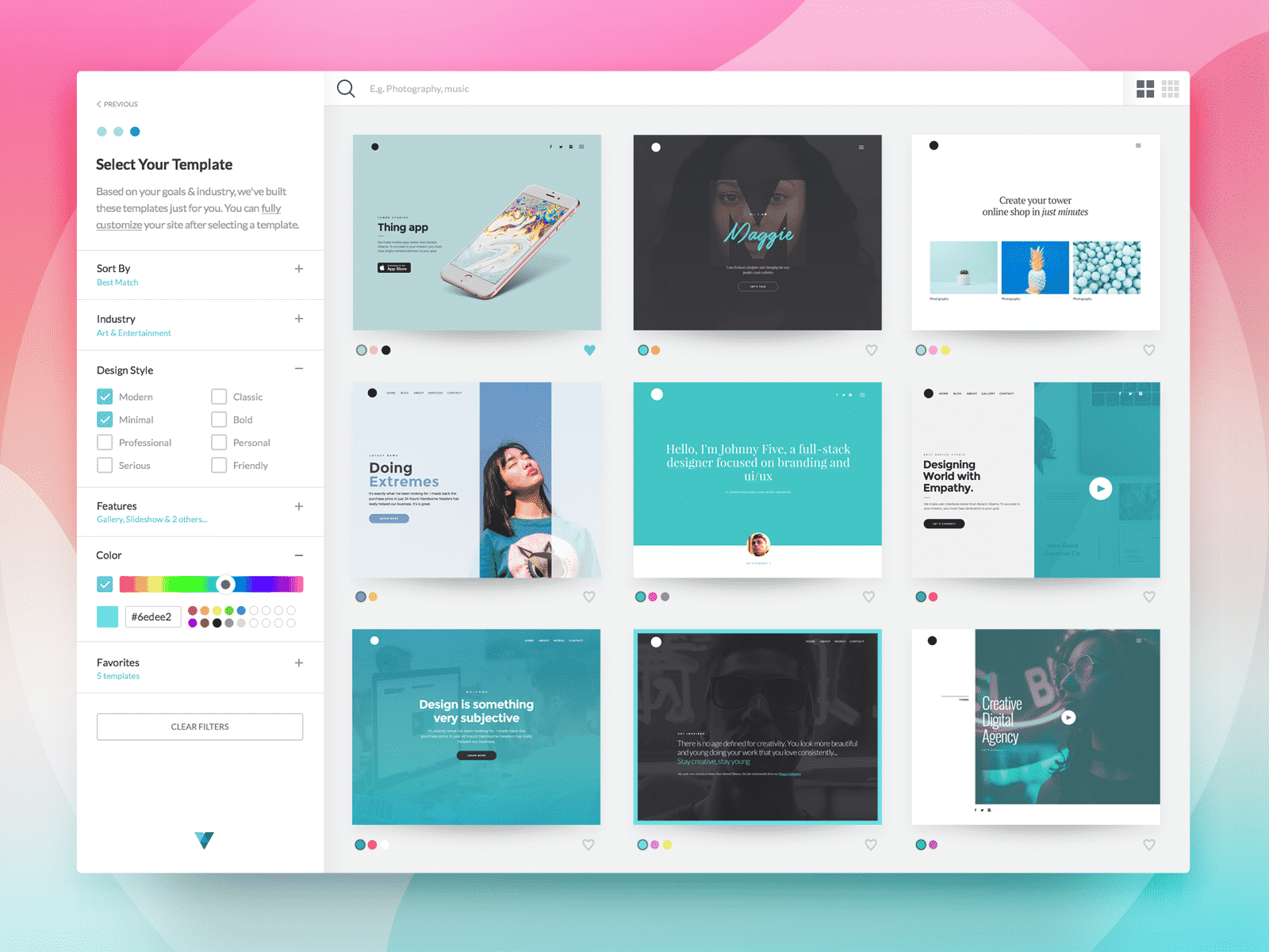 Select Page Template
